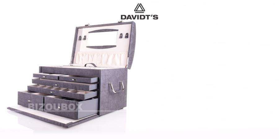 Boîte à bijoux Davidt's croco 35739934 Gris foncé